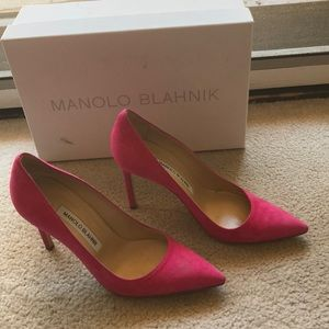 Manolo Blahnik 105 mm Pink Suede in Size 36.5